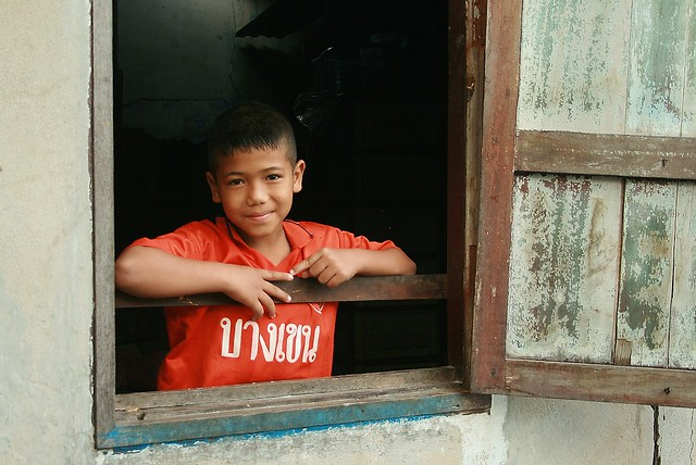 boy in a window