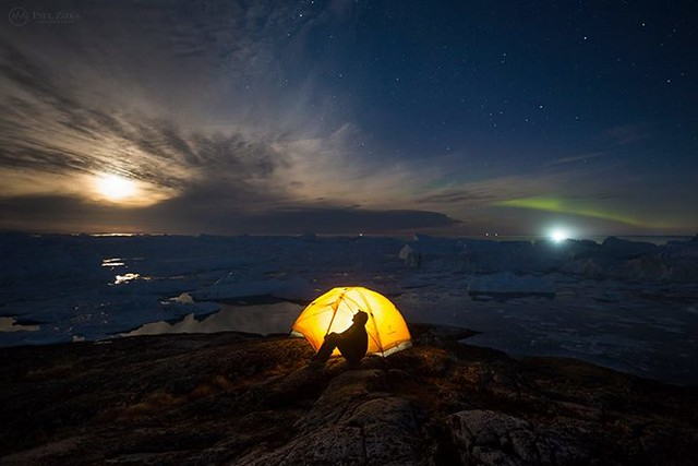 Goodnight all from Greenland. Another amazing night out there! Self-portrait, Ilulissat Icefjord, Western Greenland.