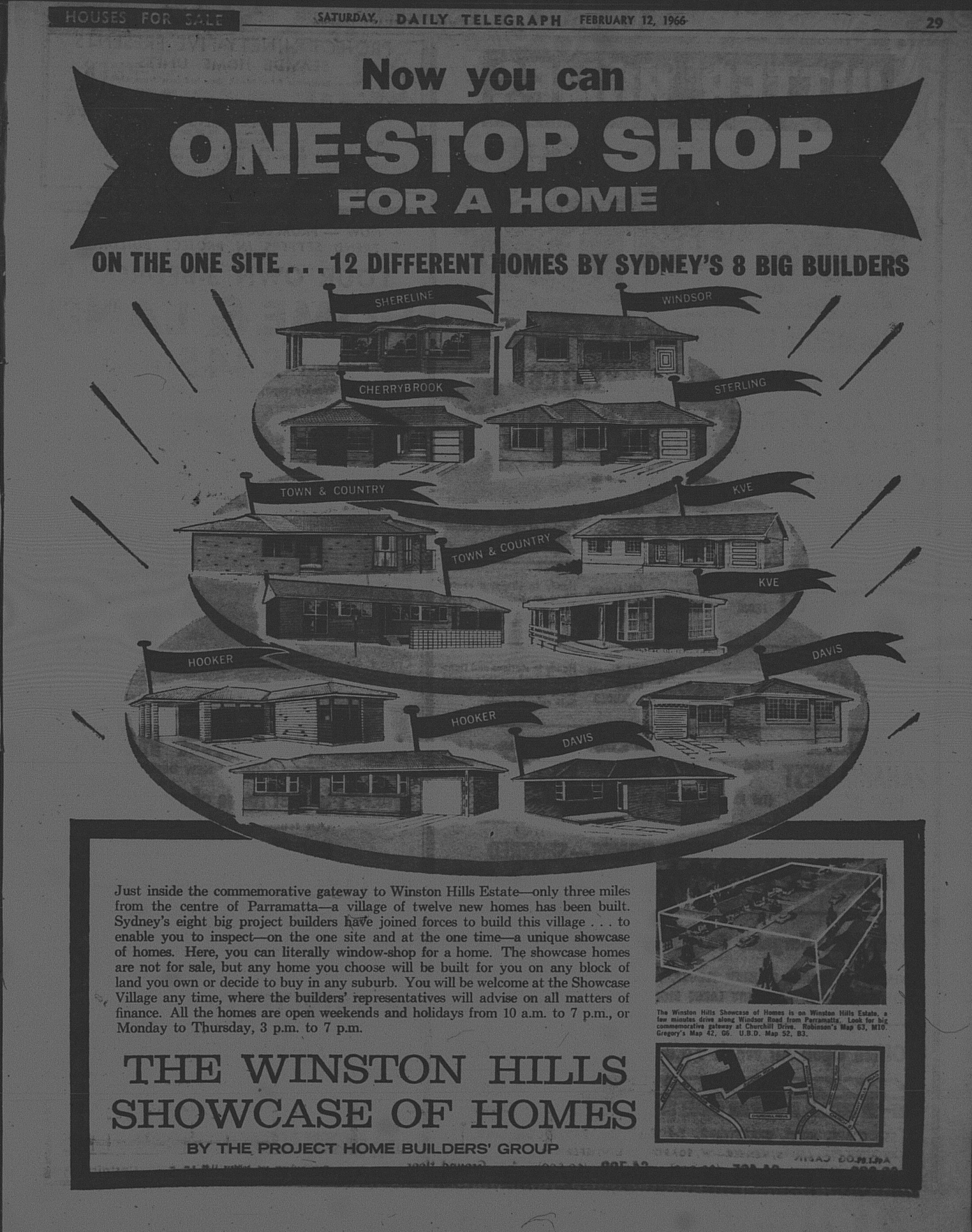 The Winston Hills Showcase of Homes Ad February 1966 daily telegraph Ad