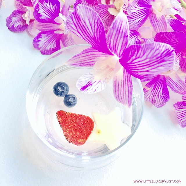 Red white and blue water aka Fourth of July Water with orchids on diagonal by little luxury list
