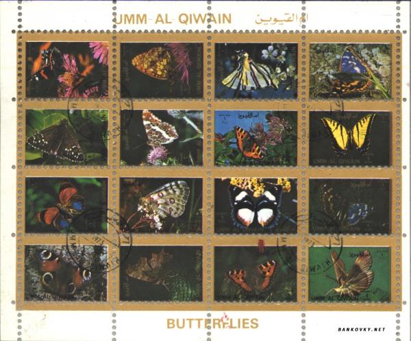 Známky Umm al Qaiwain 1972 Motýle, razÃ-tkovaný miniblok