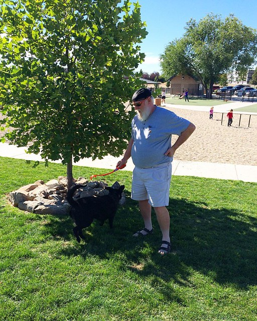 Pops and Lucy at the dog park today.
