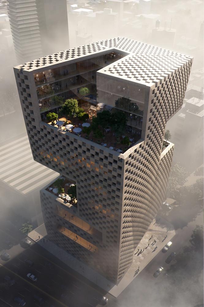 Сложная геометрическая башня Snøhetta для банка BLF. Бейрут