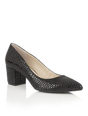 Lotus faux croc block heeled shoes