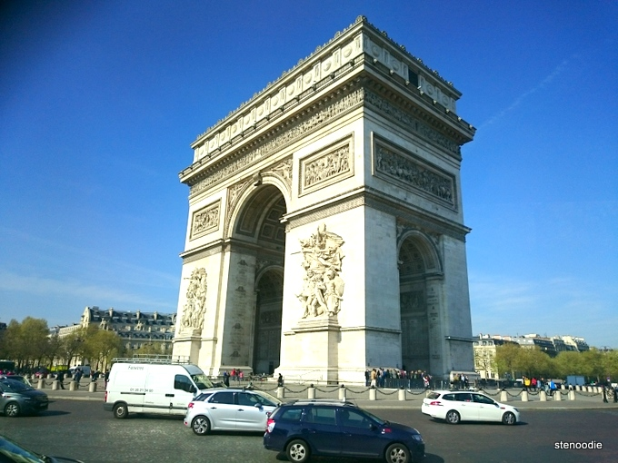 Arc de Triomphe with traffic around it