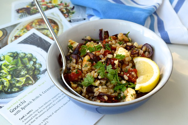 Roasted Tomato Salad with Feta, Pearl Barley and Herbs | www.rachelphipps.com @rachelphipps