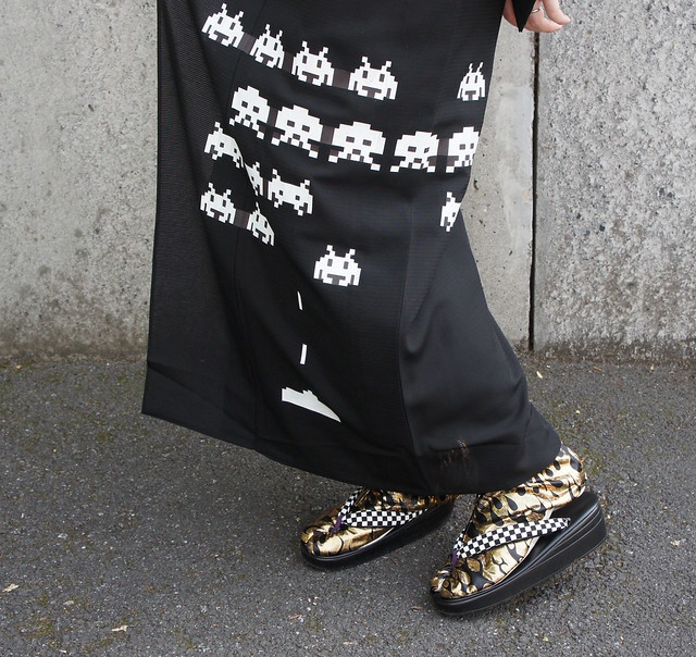Space Invaders kimono SALZ Tokyo details