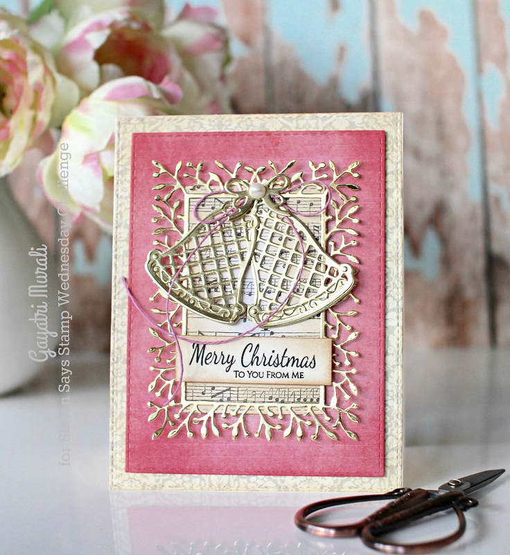 Pink Merry Christmas card