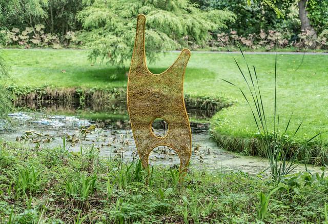 YELLOW MAN BY ANNE McGILL SCULPTURE IN CONTEXT [BOTANIC GARDENS IN DUBLIN]-120764
