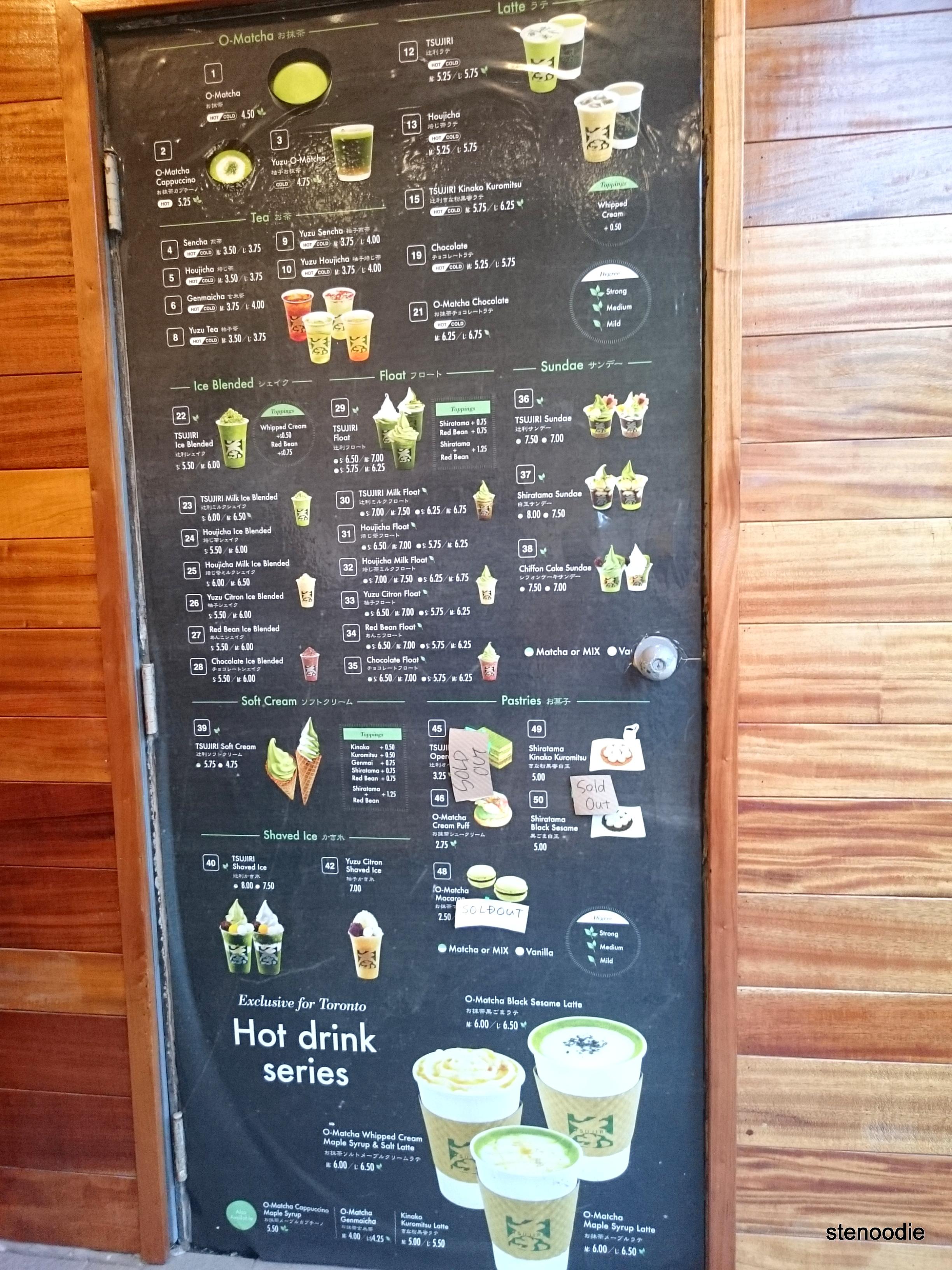 Tsujiri Toronto menu