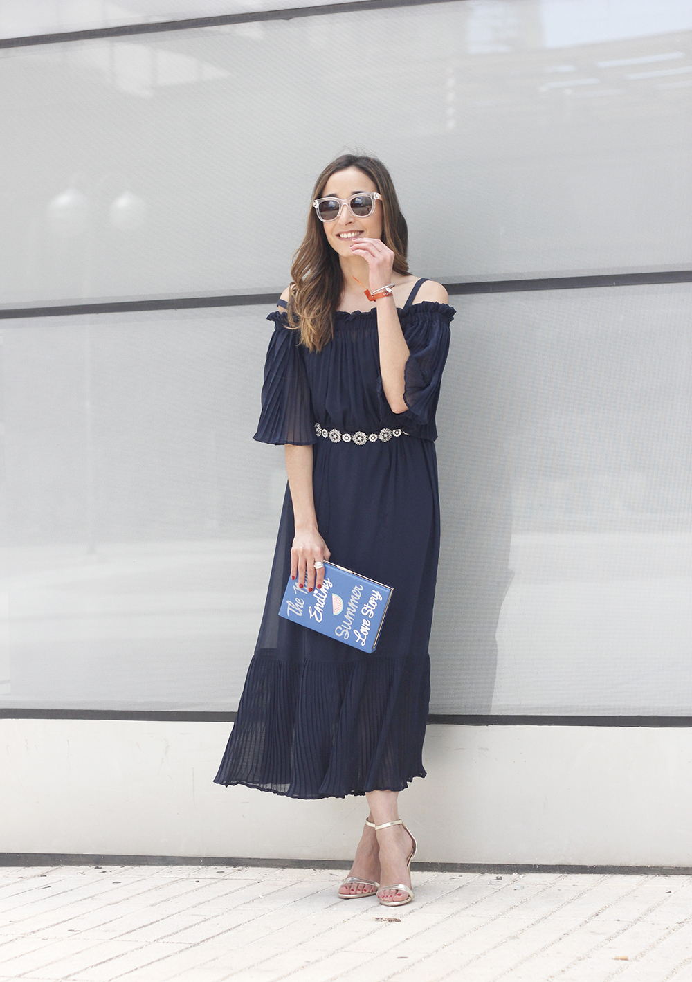A Midi Dress With Pleated Ruffles heels clutch accessories sunnies fashion outfit summer08