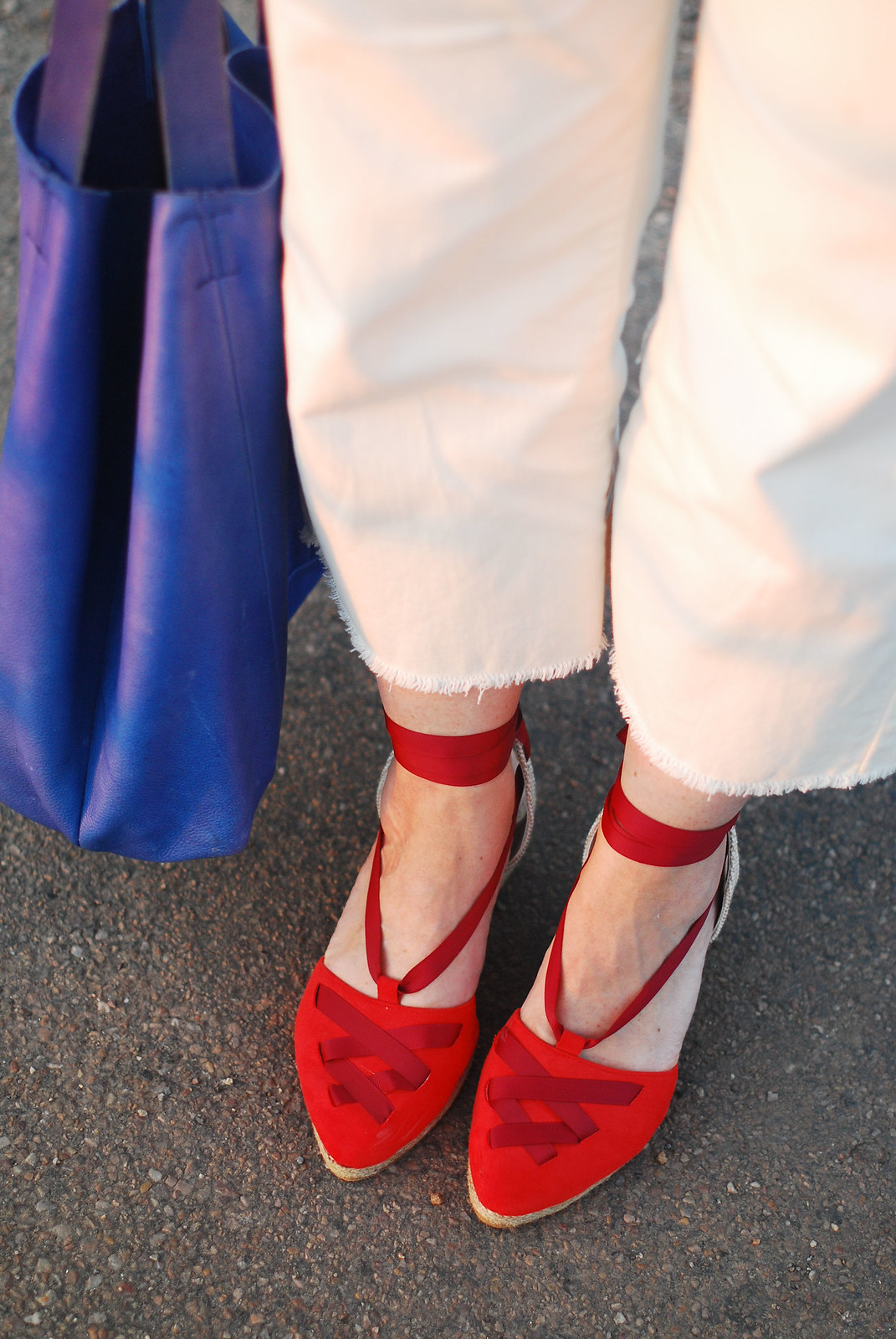 Sleeveless summer overalls: Red, white and blue outfit - red wedge espadrilles, white dungarees, blue slouchy bag   Not Dressed As Lamb