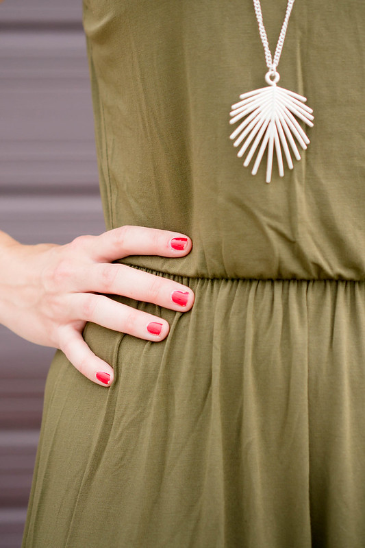 green maxi dress + summer hat + stripe sandals + palm leaf necklace; casual summer outfit   Style On Target