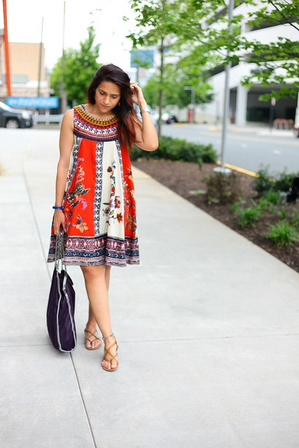 Dress - Anthropologie  Flats - Rack Room Bag - Stella McCartney Cirque Swing Dress Tanvii.com