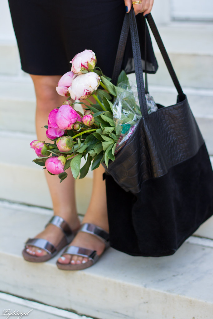 black slip dress, silver vionic sandals, black tote, peonies-10.jpg