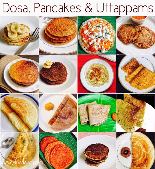 Dosa, Pancakes & uttappams recipes for Babies, Toddlers and Kids