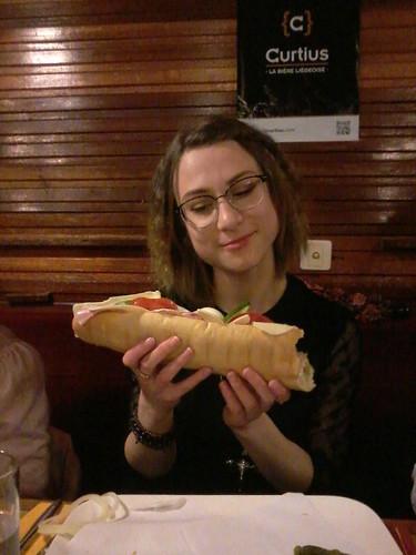 Valeriya and her egg sandwich
