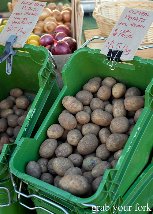 Organic kestrel potatoes at the Canterbury Foodies and Farmers Market, Sydney
