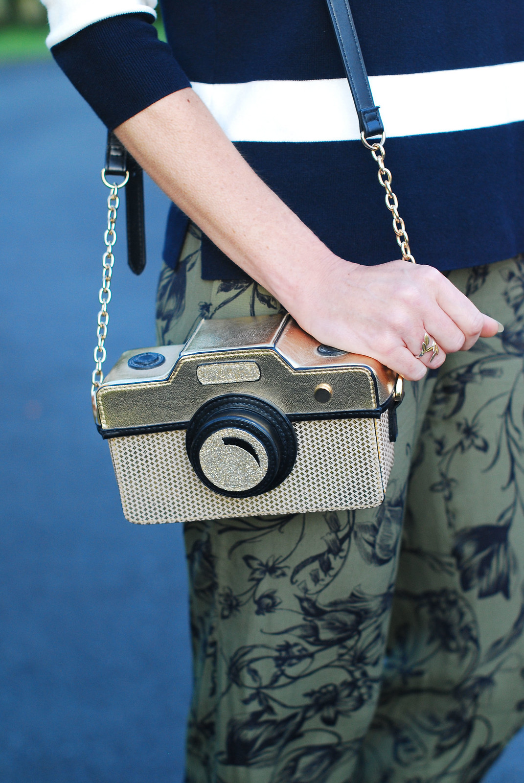Pattern mixing: Navy/white striped sweater, khaki floral wide leg pants, novelty camera bag - Hobbs SS16 | Not Dressed As Lamb
