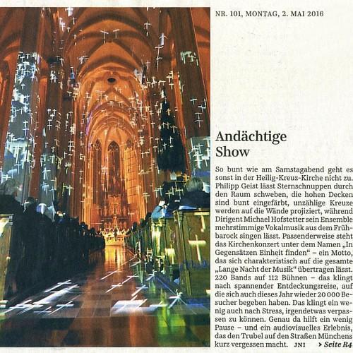 Süddeutsche Zeitung Mo 02.05 #heiligkreuzkirche #giesing #PhilippGeist #langenachtdermusik