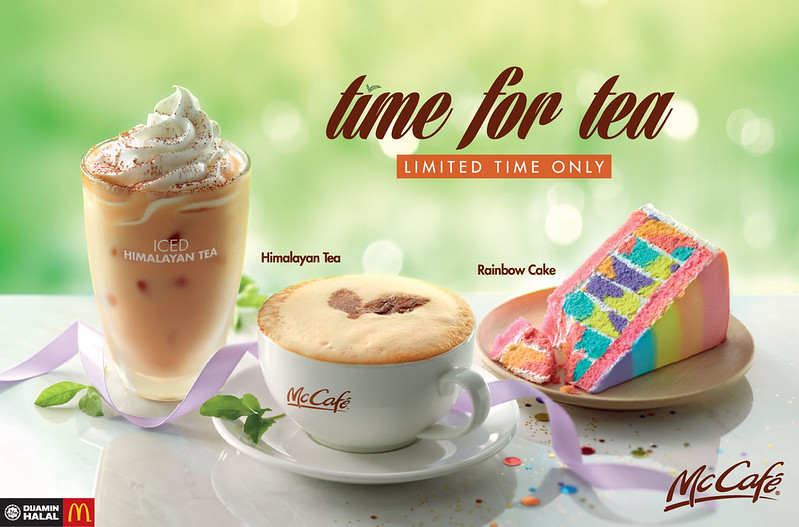 mccafe rainbow cake and tea