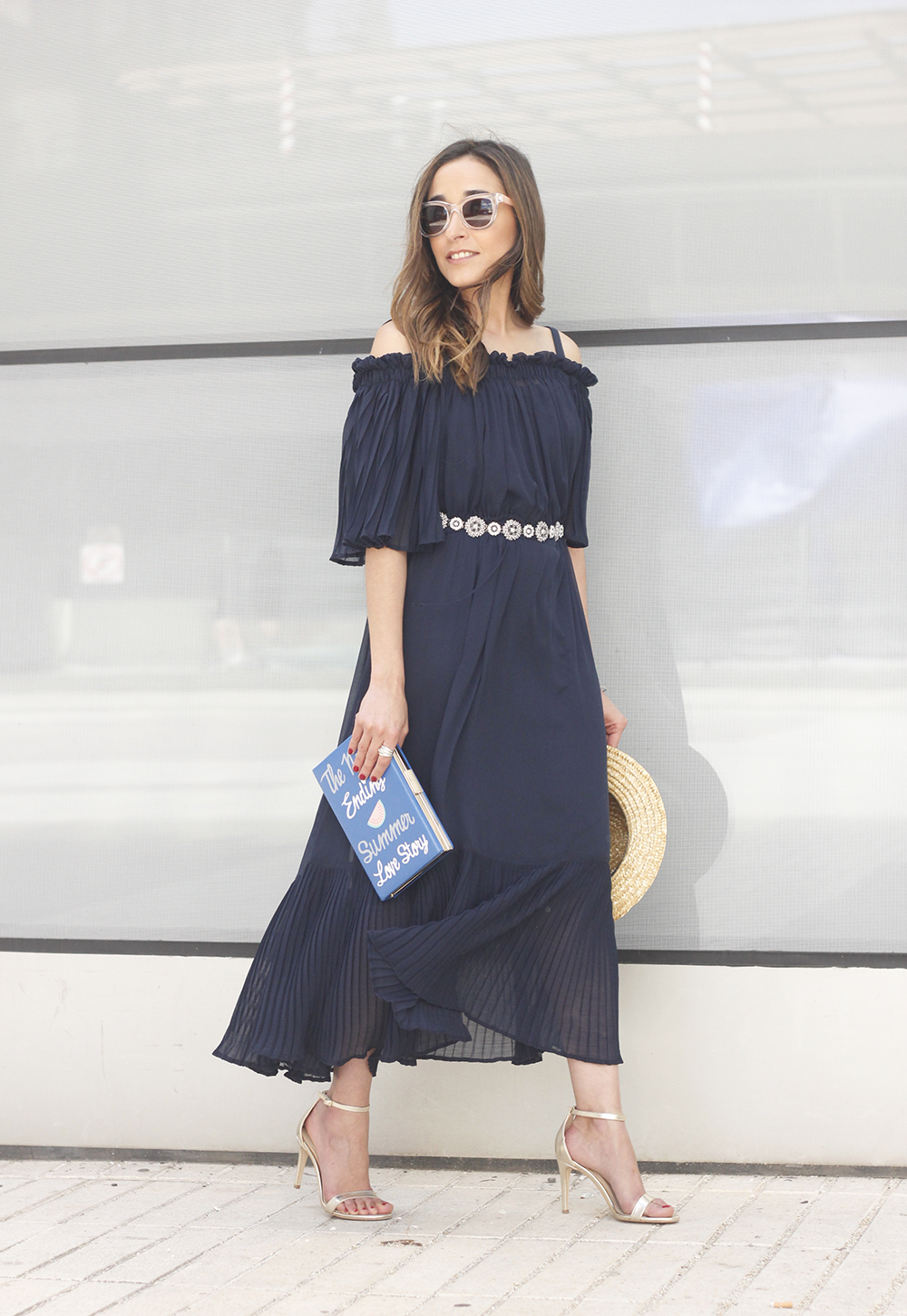 A Midi Dress With Pleated Ruffles heels clutch accessories sunnies fashion outfit summer05