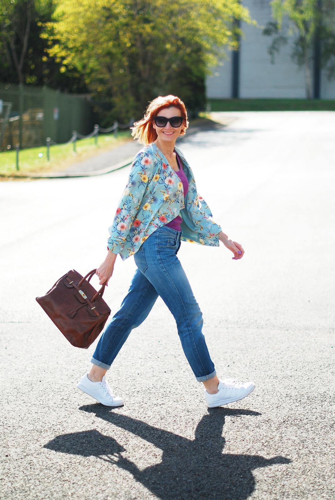 Casual Spring Summer look: Floral drape jacket, purple tank, boyfriend jeans, white Stan Smiths | Not Dressed As Lamb