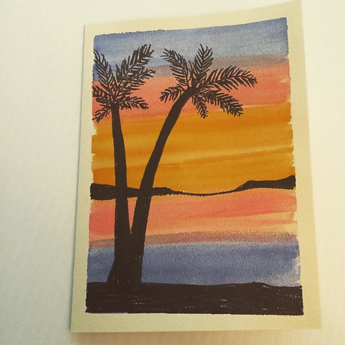 Crafty day. Watercolor sunset/palm trees card.