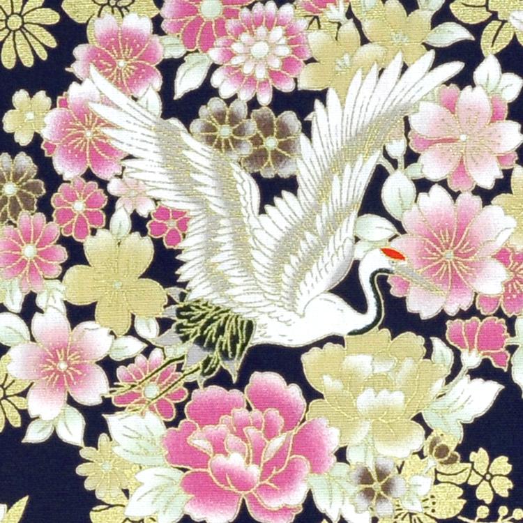 烫金花间鹤 日式和风吉祥物 长寿鹤 手工艺diy拼布布料 ca450617
