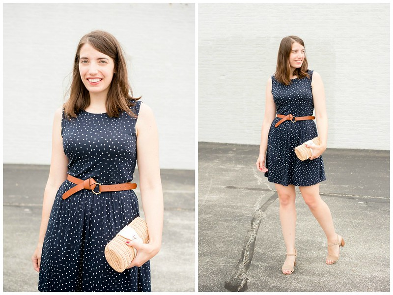 navy white polka dot Loft dress + Target knot belt + Sole Society block heels + wicker clutch; summer casual outfit | Style On Target