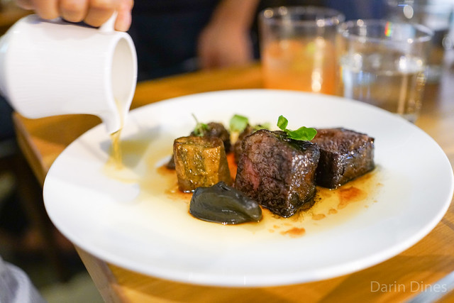 SLOW COOKED SHORT RIB, WITH ASH, CHARRED EGGPLANT, AND RED WINE JUS