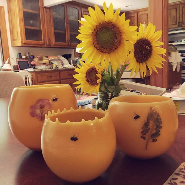 Beeswax lanterns and sunflowers