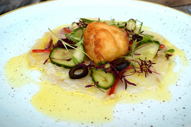Gin Mare Cured Sea Bass with Pickled Cucumber, Black Olives, Chilli & a Scallop Beignet in Tonic Batter at Rocksalt, Folkestone | www.rachelphipps.com @rachelphipps