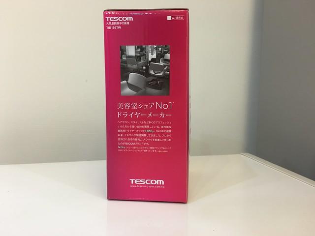 外包裝,看起來是髮廊愛用品牌第一名XD@TESCOM TID192TW保濕負離子機能吹風機