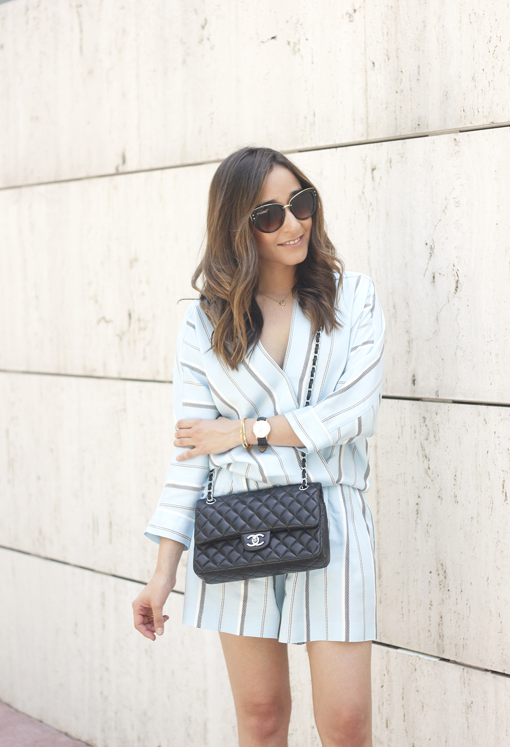 Maje Jumpsuit with stripes black heels chanel bag summer outfit street style fashion09