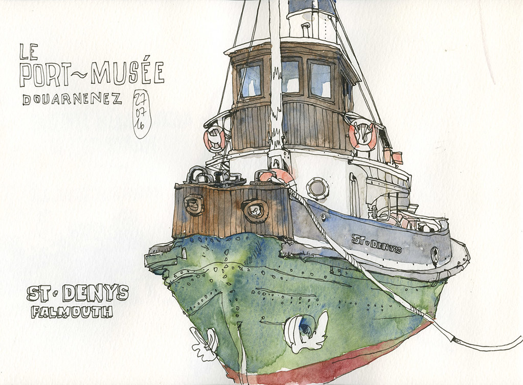 Tug boat at Douarnenez historic harbour