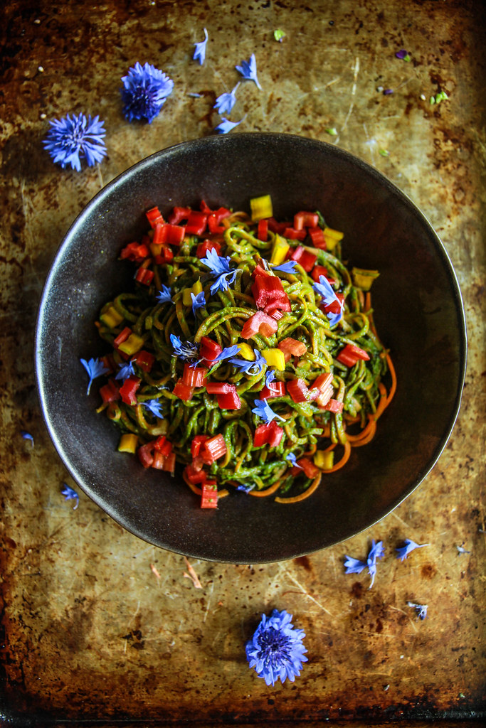 Sweet Potato Noodles with Swiss Chard Pesto from HeatherChristo.com