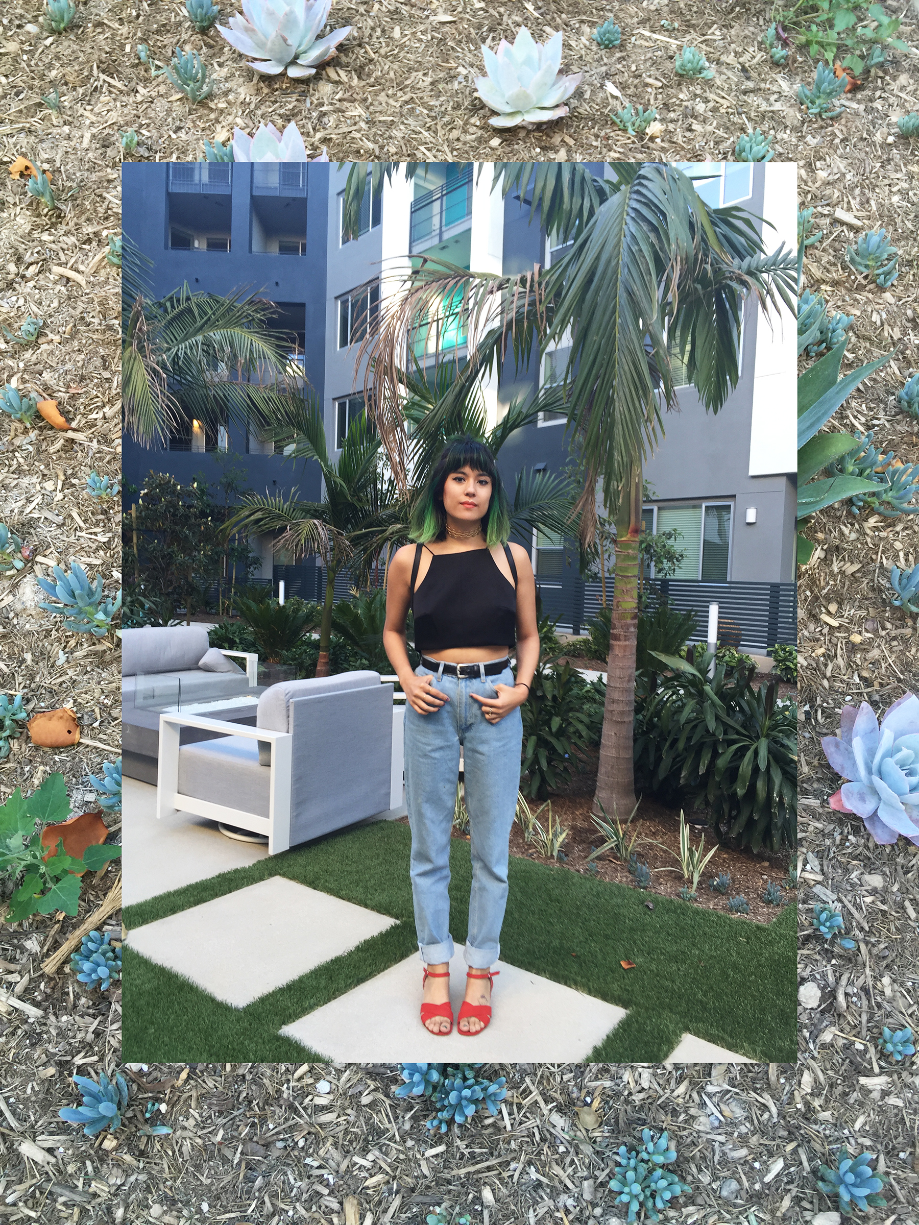 Cameo Collective crop, American Apparel high waist jeans, UO sandals, Acne Studios gold choker