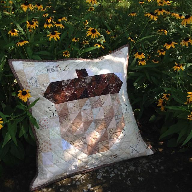 Acorn patchwork pillow