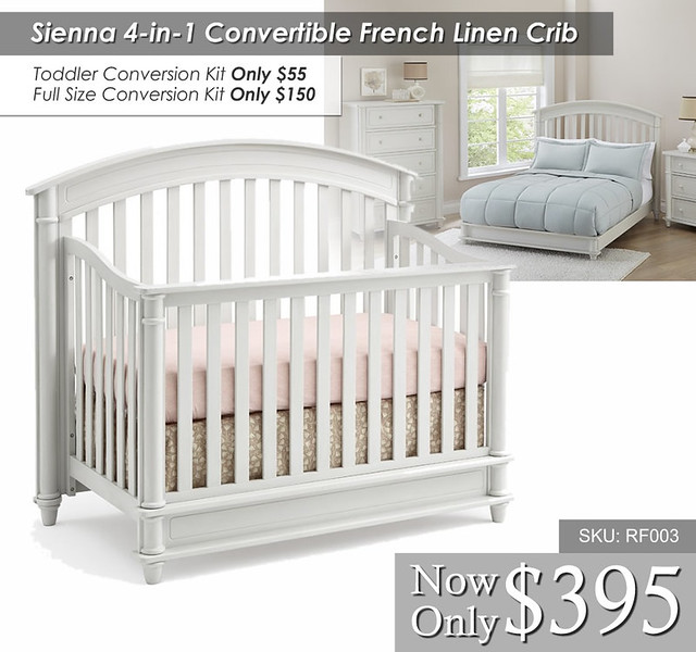 Sienna 4 in 1 Convertible French Linen Crib2