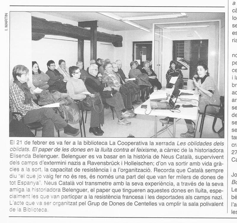 Article sobre la Tertúlia sobre la Neus Català a Centelles, 2013