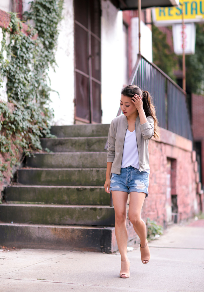 missguided petites casual denim shorts bomber jacket outfit