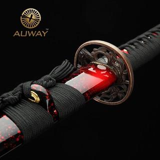auway-samurai-sword-Orchid-Tsuba-Red-scabbard-2