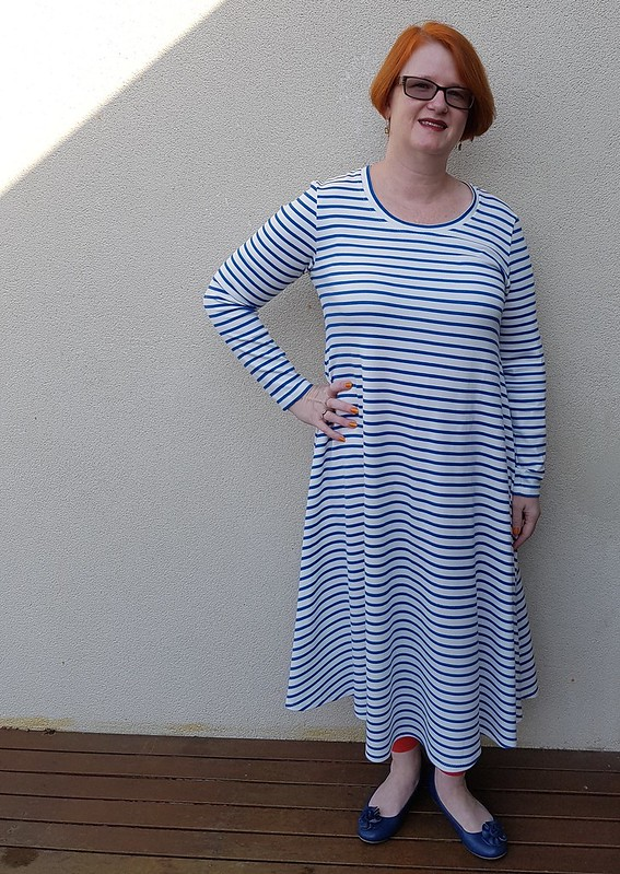 Made It Patterns Groove Dress in striped ponte from Spotlight