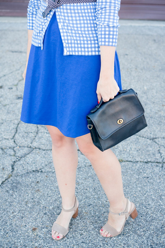 cobalt blue dress + blue and white J.Crew gingham cardigan + navy and white belt + sole society block heels | Style On Target blog