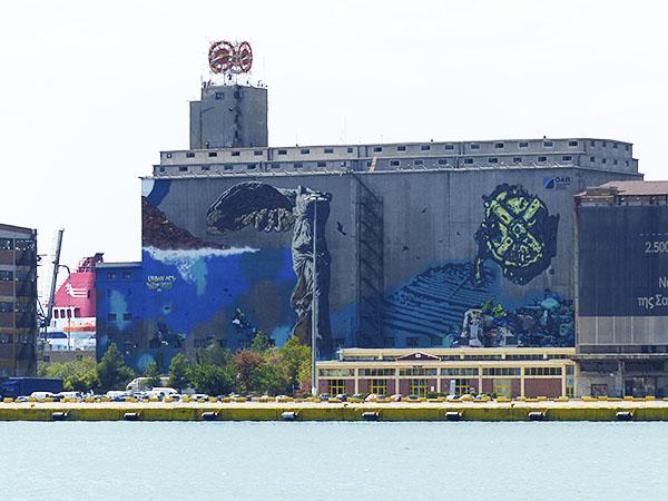 fresque sur le port du Pirée