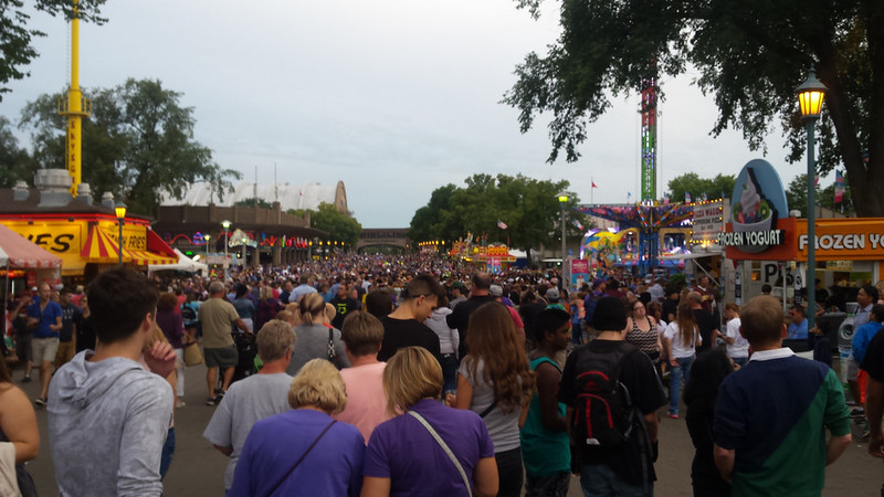 looking south at a sea of people near the Midway