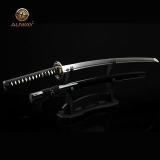Auway-samurai-sword-Dragon-Tsuba-Black-scabbard-4