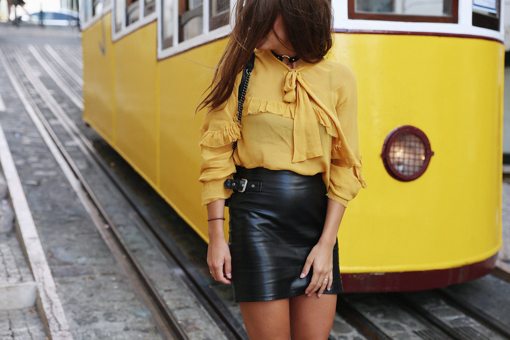 Jessie Chanes Seams for a desire Lisboa Parfois Mustard Ruffled Blouse Faux Leather Skirt-2