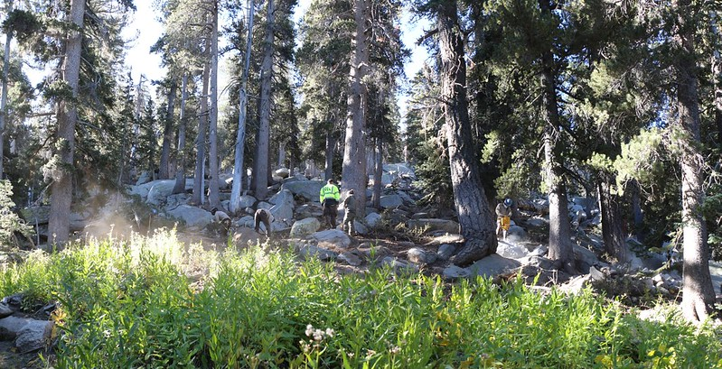 Panorama view of the California Conservation Corps work project on the Deer Springs Trail (PCT)
